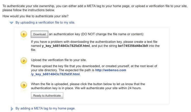 Yahoo SiteExplorer Authentication