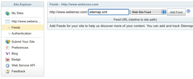 Site Explorer Feeds Menu Item to add Sitemap