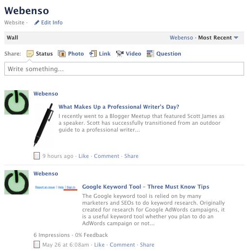 Webenso Facebook wall