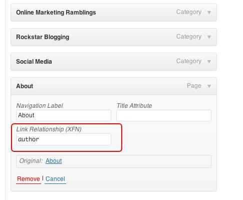XFN Attribute in WordPress menus