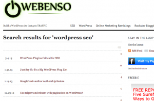 WordPress SEO search page on webenso.com