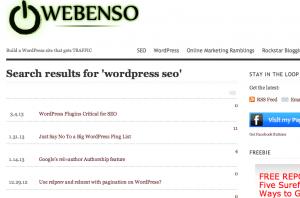 WordPress SEO search page on webenso.com