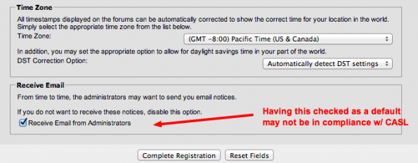 Picture of a checkbox checked by default