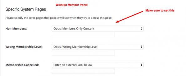 WishList Member Configuration