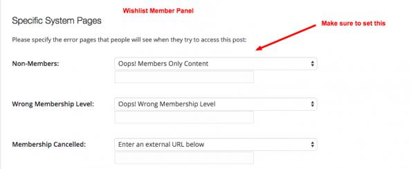 WishList Member Configuration