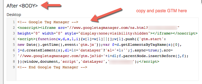 Adding GTM code in Header and Footer