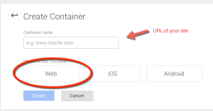 Google Tag Manager - Create Container