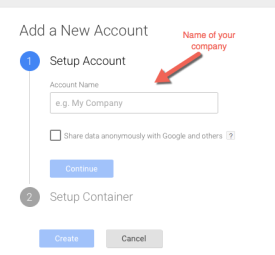 Google Tag Manager Create Account