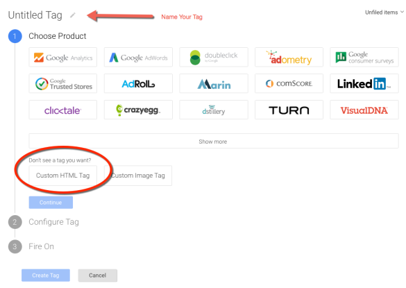 Custom HTML tag in Google Tag Manager