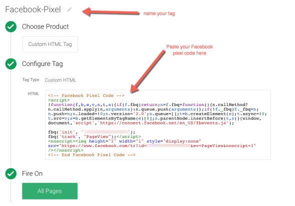 Configure Facebook Pixel Tag