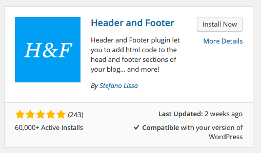 header and footer WordPress plugin