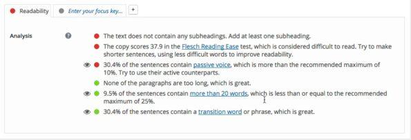 Yoast SEO readability panel