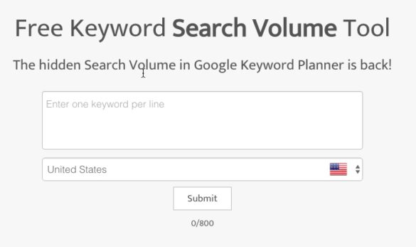 Free Keyword Search Volume Tool