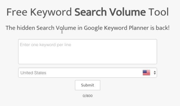 Free Keyword Search Volume Tool