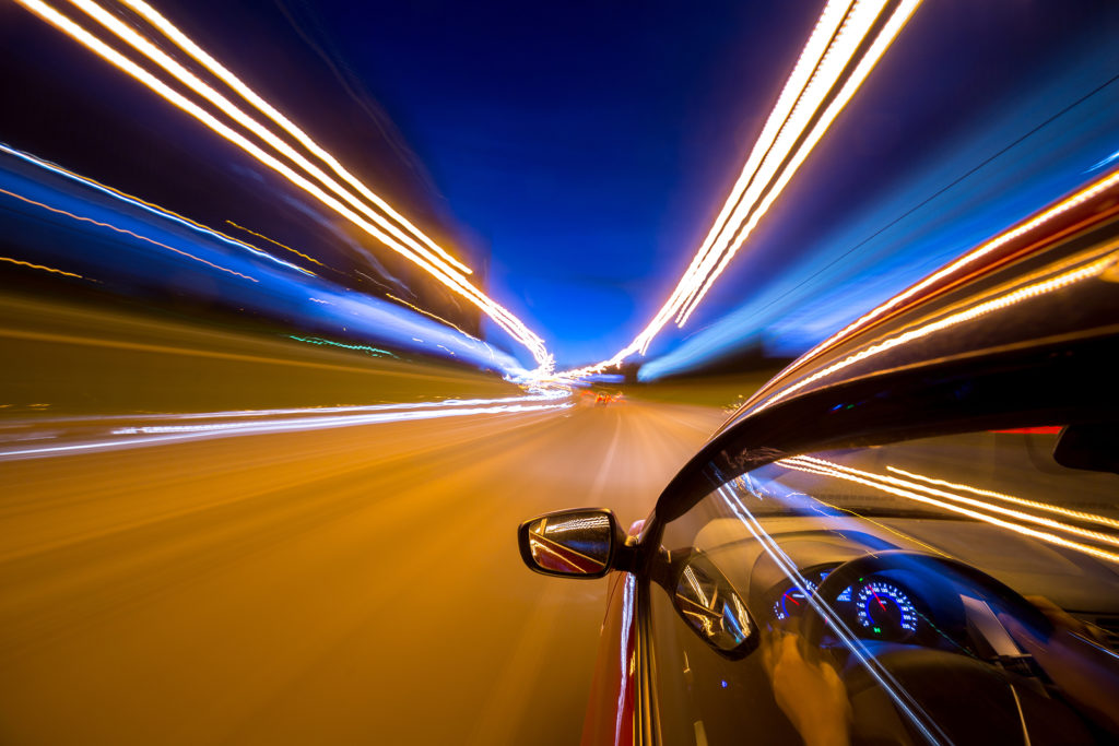 car speeding at night as a metaphor for site speed