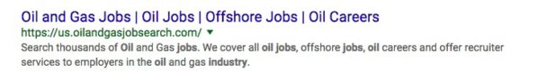 oil and gas jobs snippets with lots of keywords