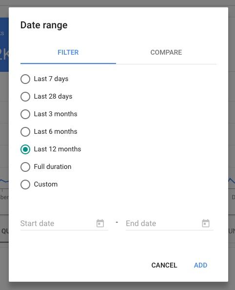 Google Search Console edit date range