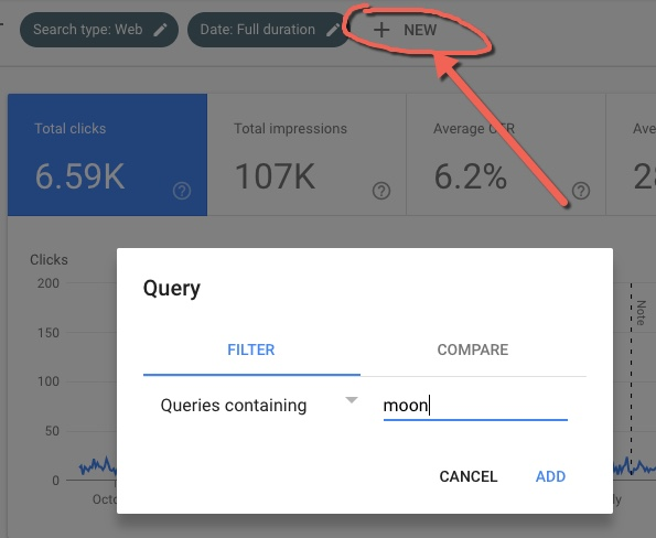 Setting filter for GSC Performance keyword data