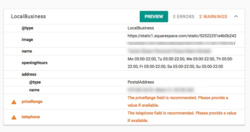 Squarespace LocalBusiness Structured Data Warnings
