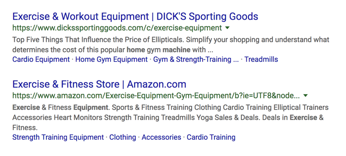 home workout equipment SERP