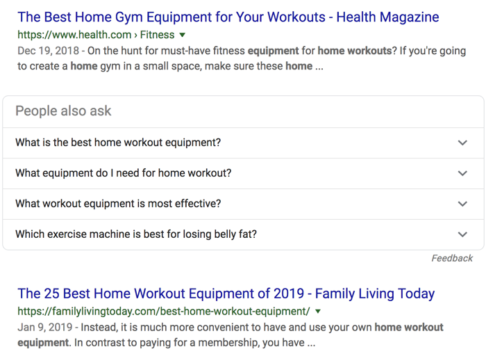 home workout equipment informational SERPs